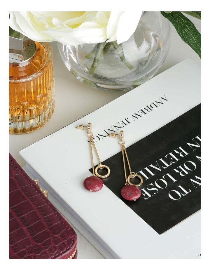 Wine Berry Hoop Drop Stone Earrings image 3