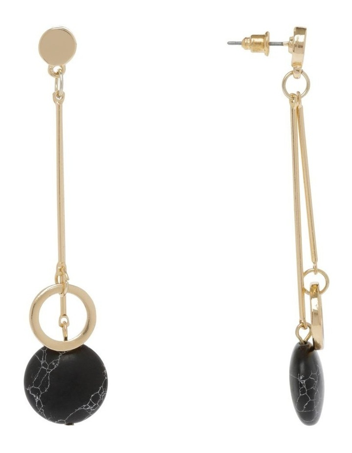 Black Hoop Drop Stone Earrings image 2