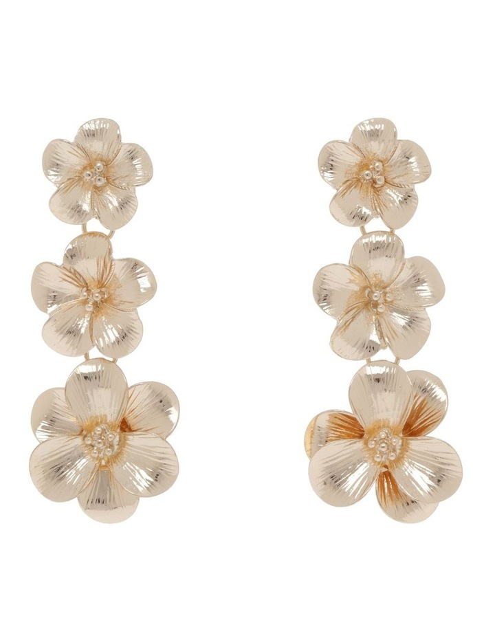 Gold Floral Drop Earring image 1