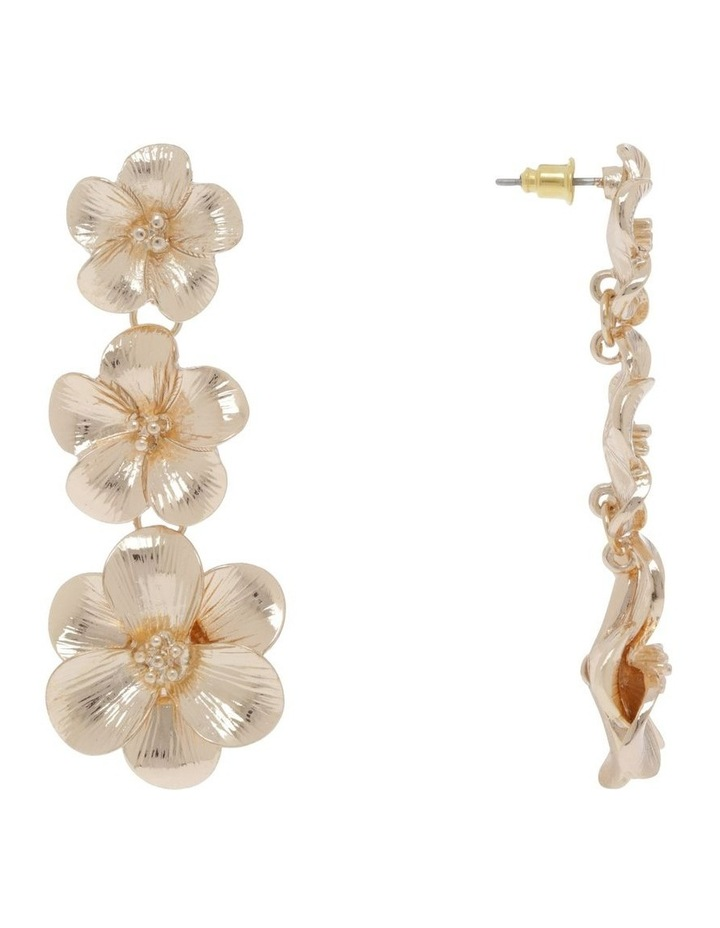 Gold Floral Drop Earring image 2