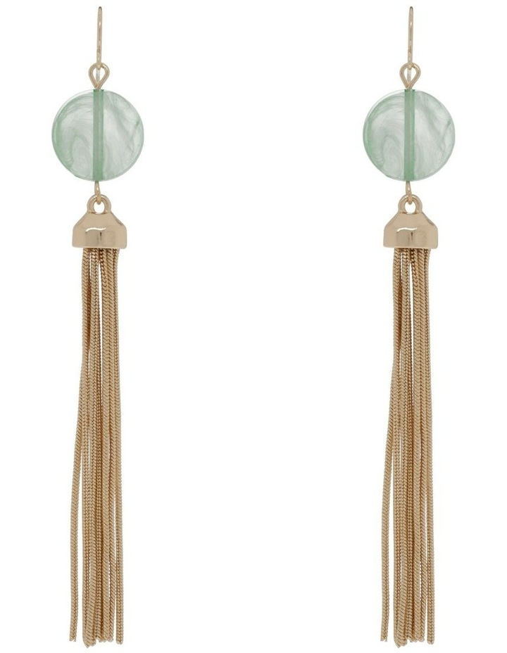 Gold Bead Tassel Chain Earring image 1