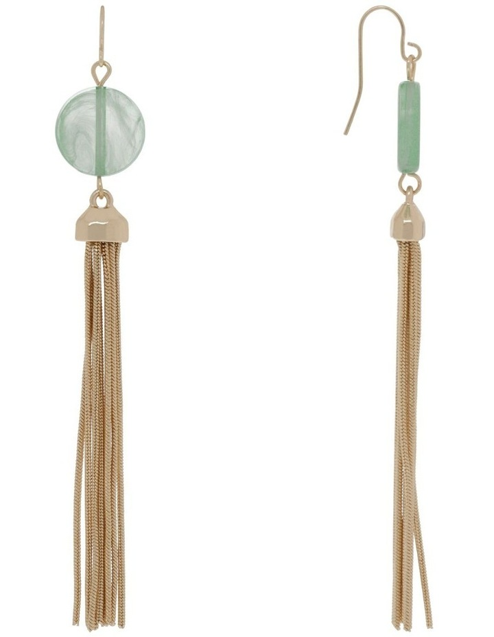 Gold Bead Tassel Chain Earring image 2