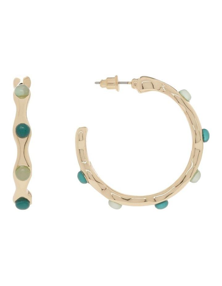 Forest & Mint Stone Hoop Earring image 1