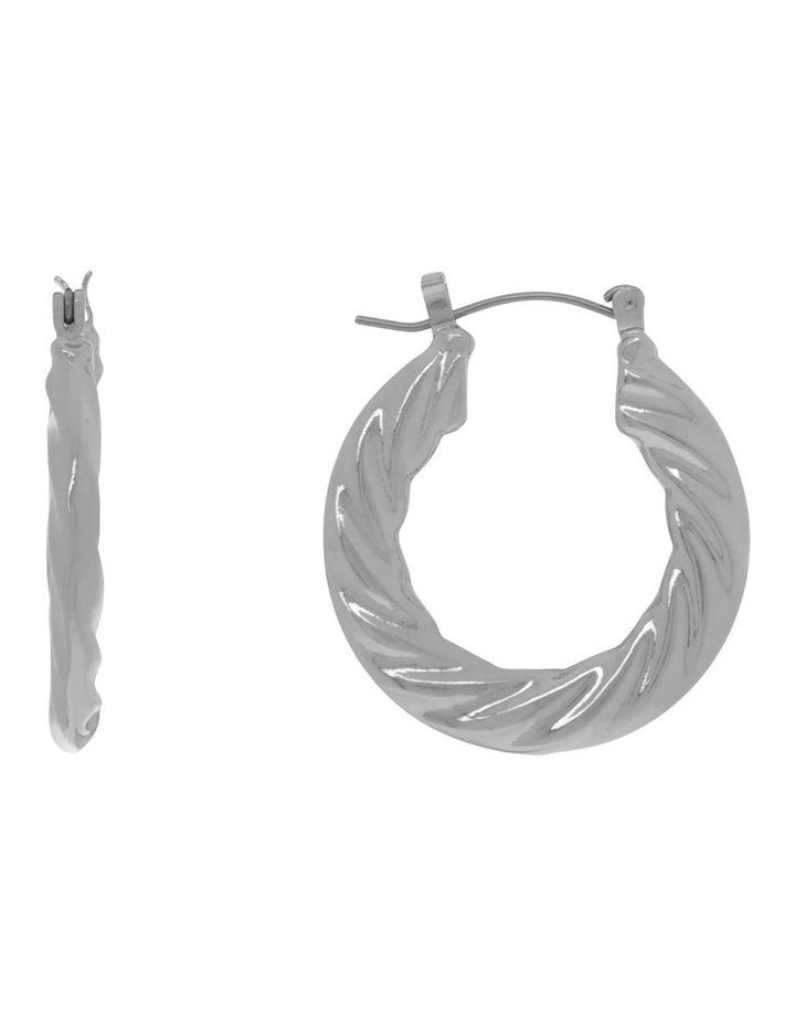 Silver Graduated Twist Hoop Earring image 1