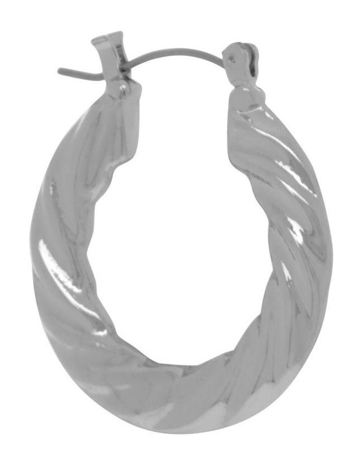 Silver Graduated Twist Hoop Earring image 2