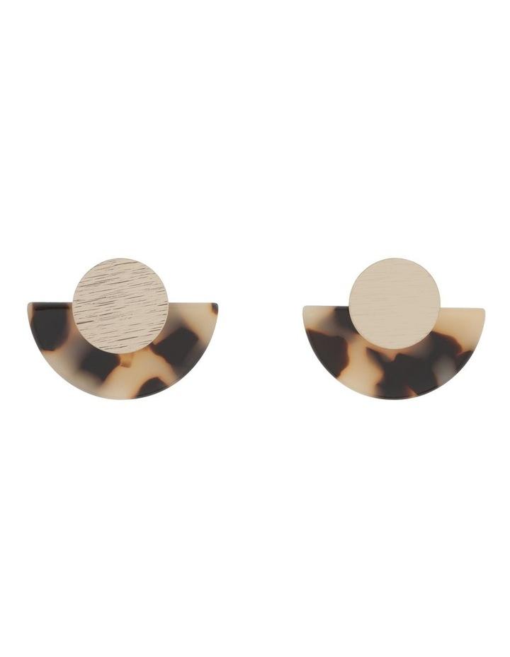 Semi-Circle Disc Earring Gold Milky image 1