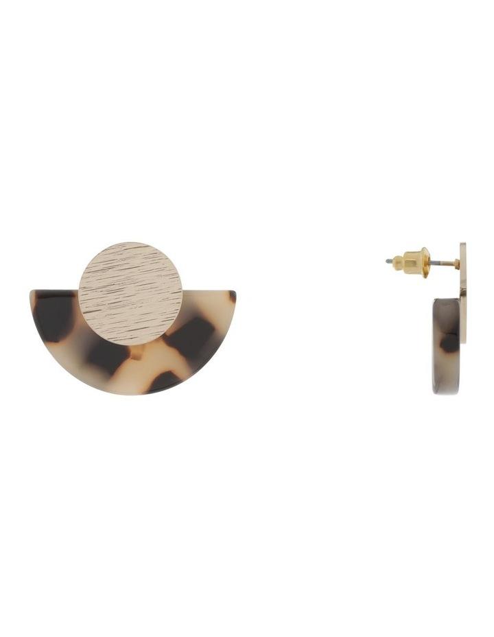 Semi-Circle Disc Earring Gold Milky image 2