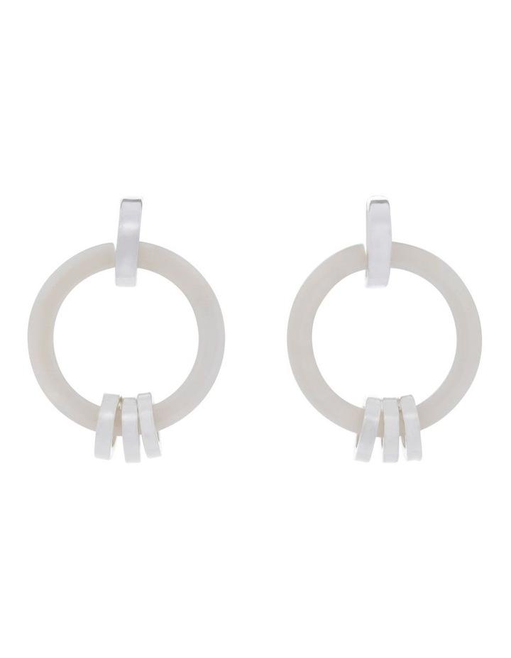Silver White Link Hoop Tort Earring image 1