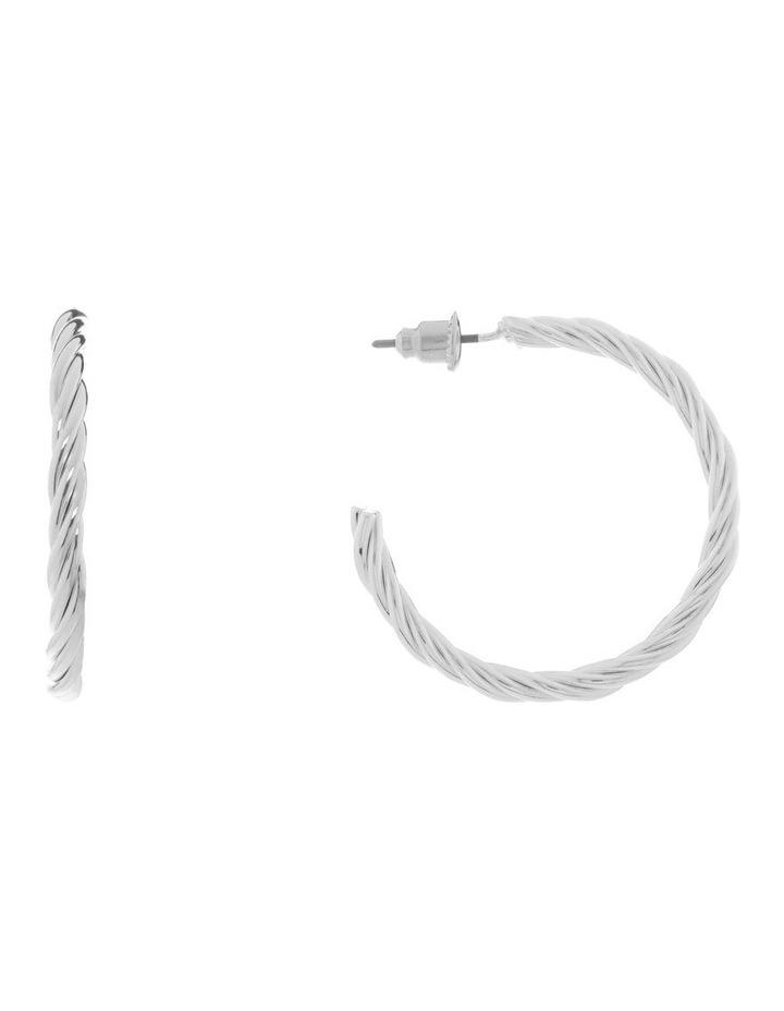 Silver Twist Hoop Earring image 1