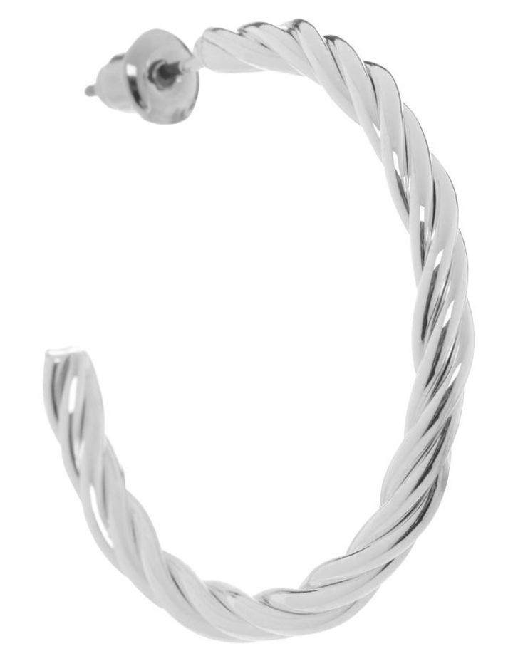 Silver Twist Hoop Earring image 2