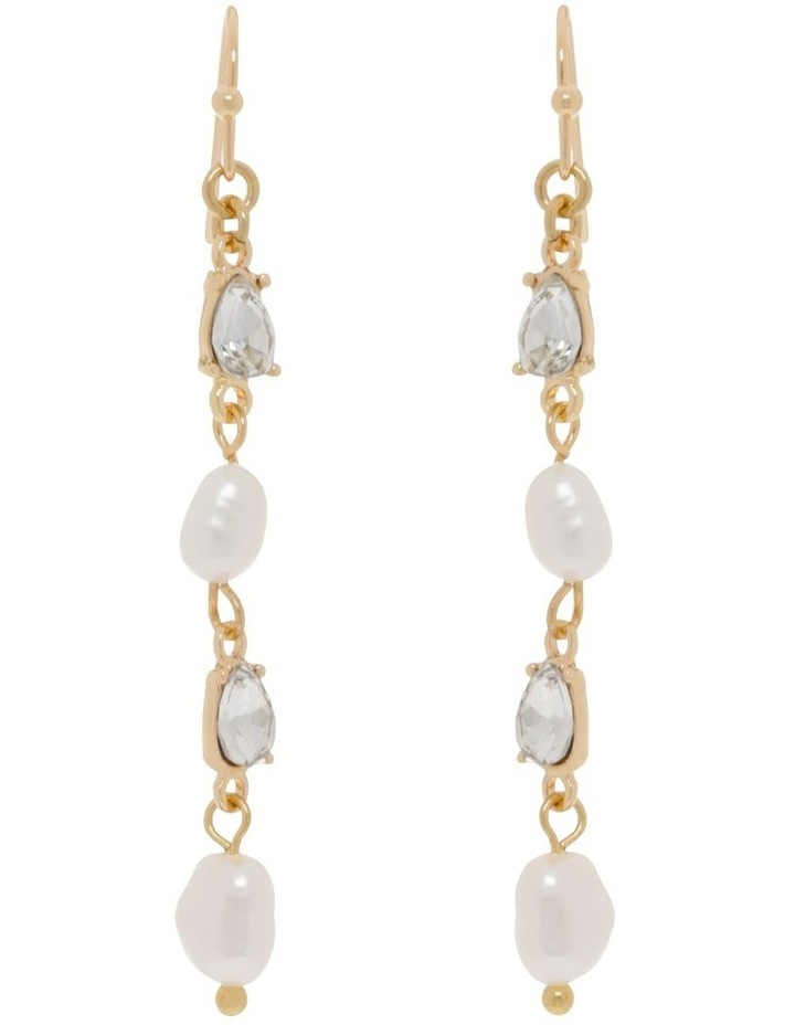 Delicate Multi-Link Pearl Drop Earrings image 1