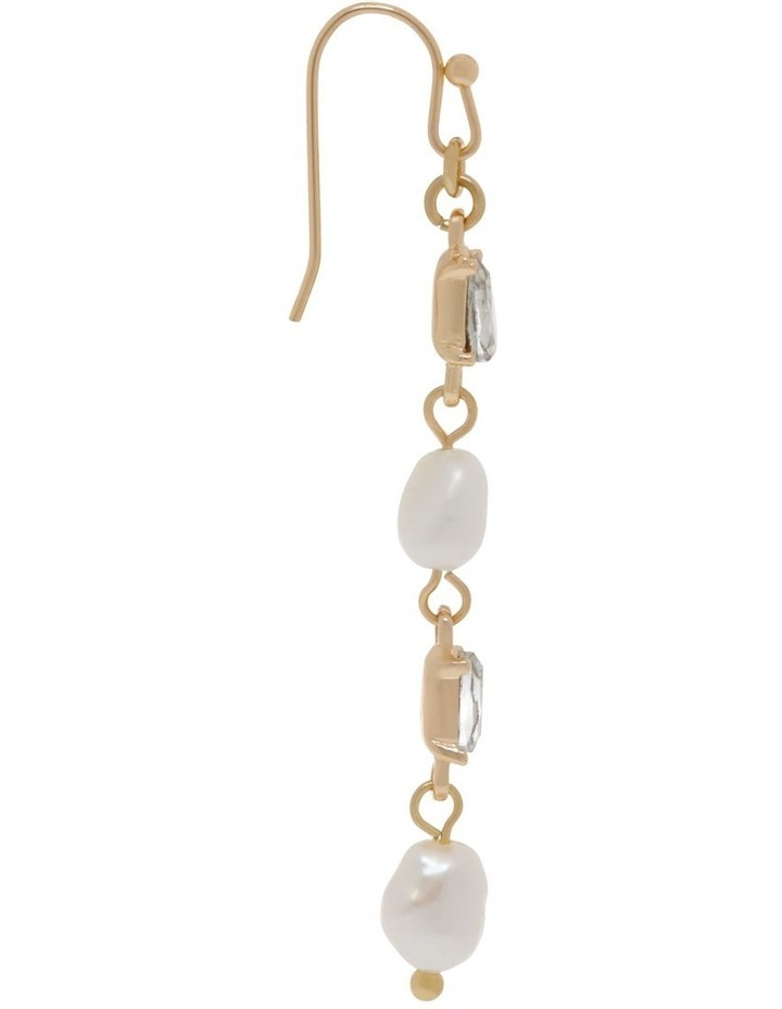 Delicate Multi-Link Pearl Drop Earrings image 2