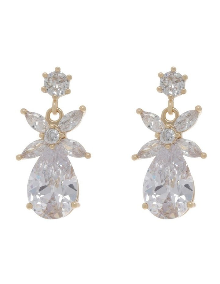 Crystal Flower CZ Drop Earrings image 1