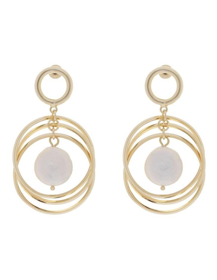 Freshwater Pearl Drop Hoop Earrings image 1