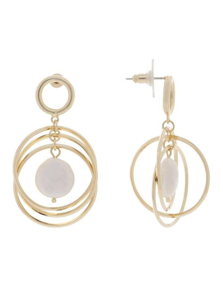 Freshwater Pearl Drop Hoop Earrings image 2