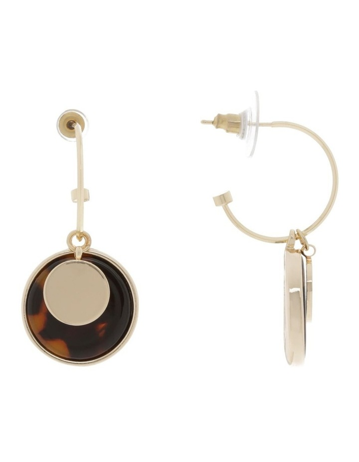 Tortoiseshell Hoop & Disc Drop Earrings image 1