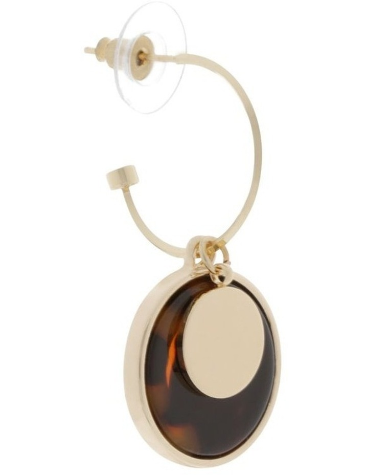 Tortoiseshell Hoop & Disc Drop Earrings image 2
