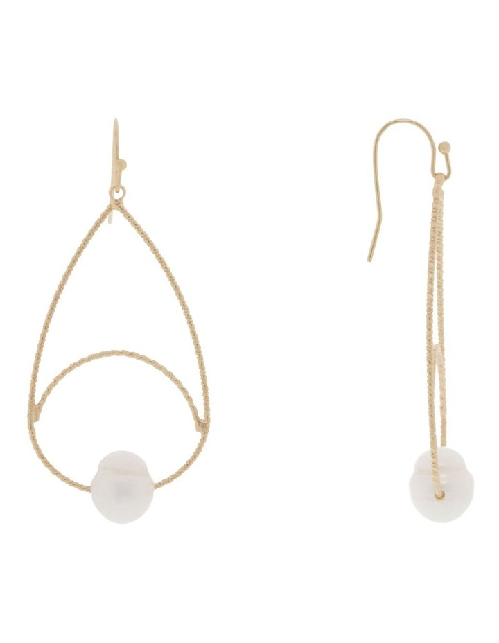 Textured Wire & Pearl Hook Earrings image 2