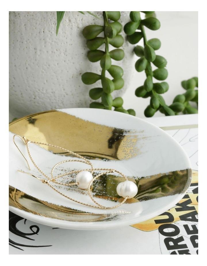 Textured Wire & Pearl Hook Earrings image 3