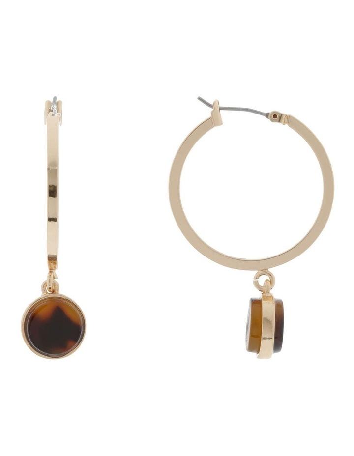 Drop Hoop Earrings with Resin Setting image 1