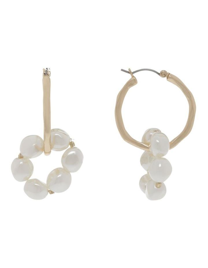 Gold Hoop & Linked Pearl Earrings image 1