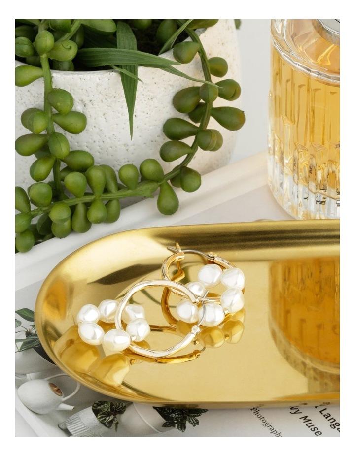 Gold Hoop & Linked Pearl Earrings image 3