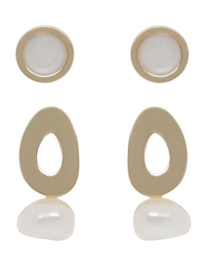 Oval Stud & Pearl Drop 2 Pack Earrings image 1