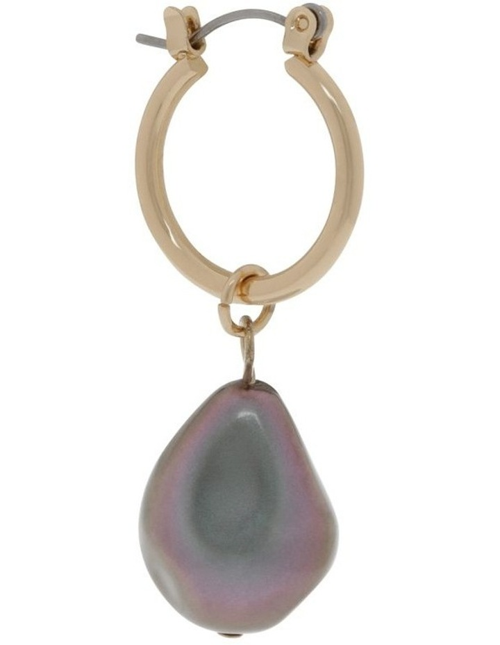 Abstract Pearl Hoop Earrings image 2
