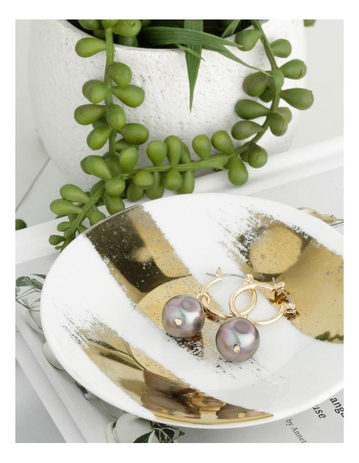 Abstract Pearl Hoop Earrings image 3