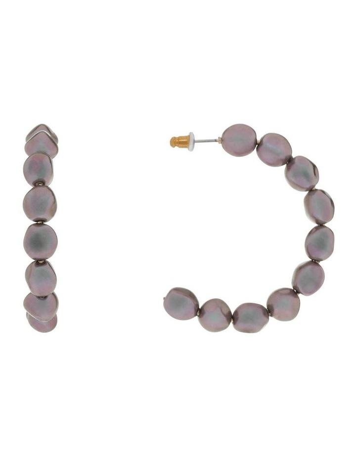 Black Pearl Hoop Earrings image 1