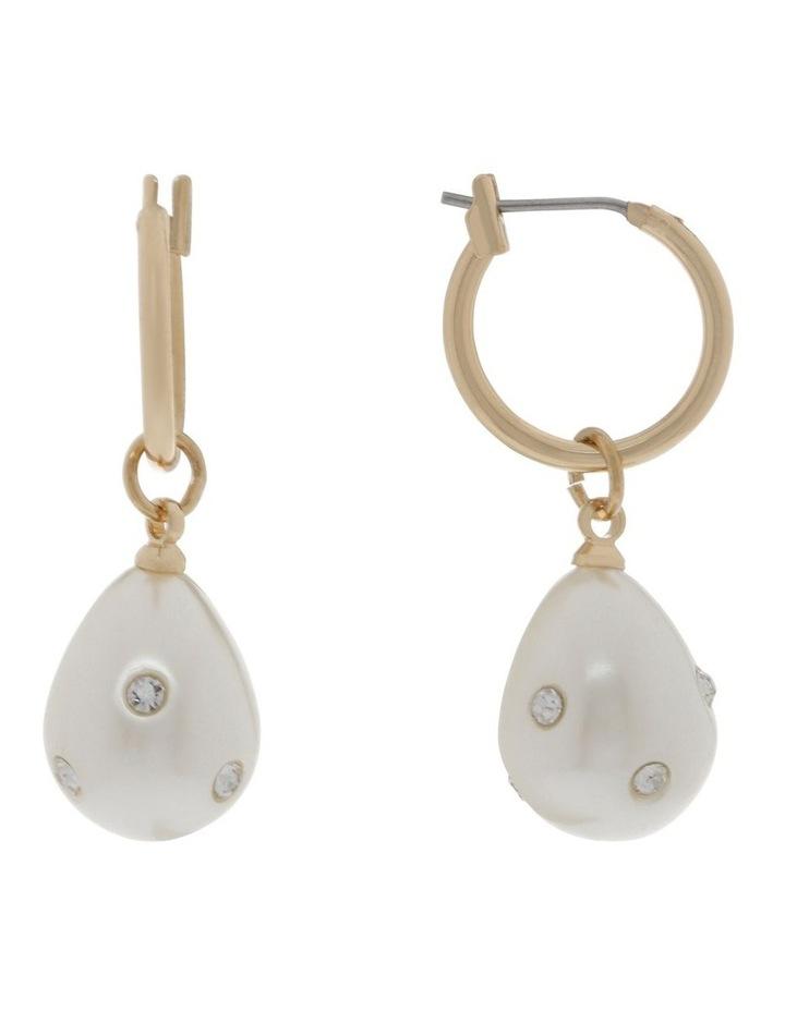 Diamante Pearl Drop Earrings image 1