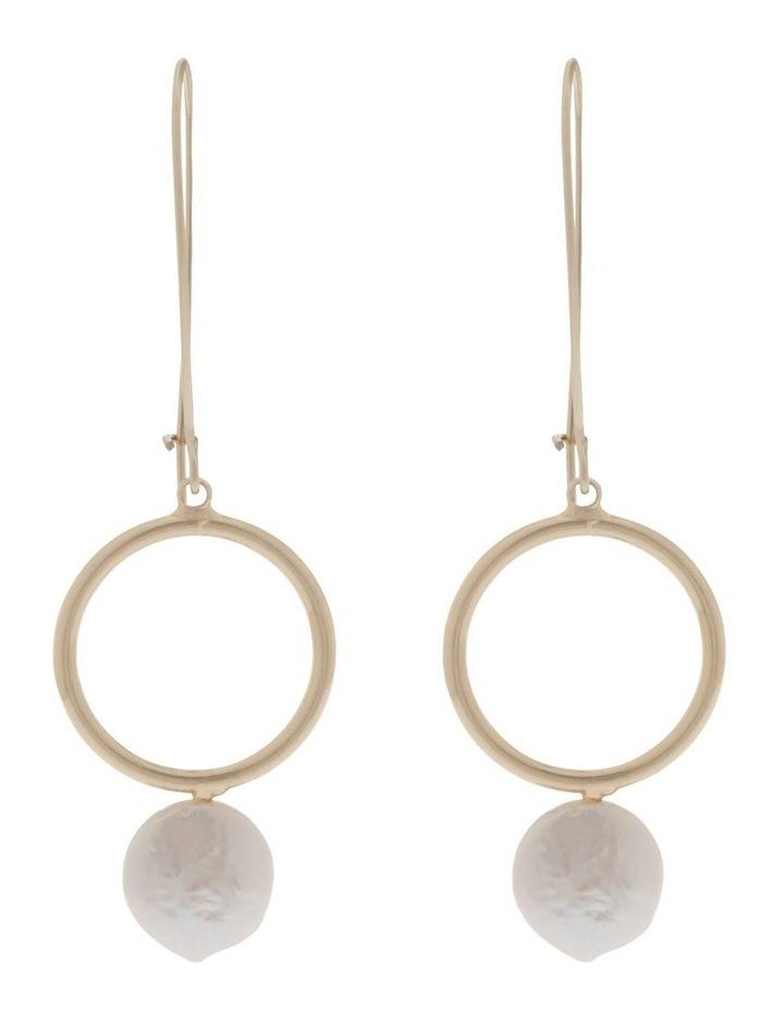 Pearl Hoop Drop Earrings image 1