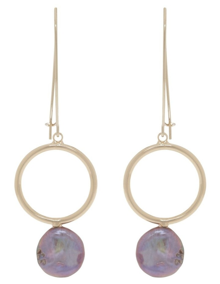 Pearl Hoop Drop Earrings image 1