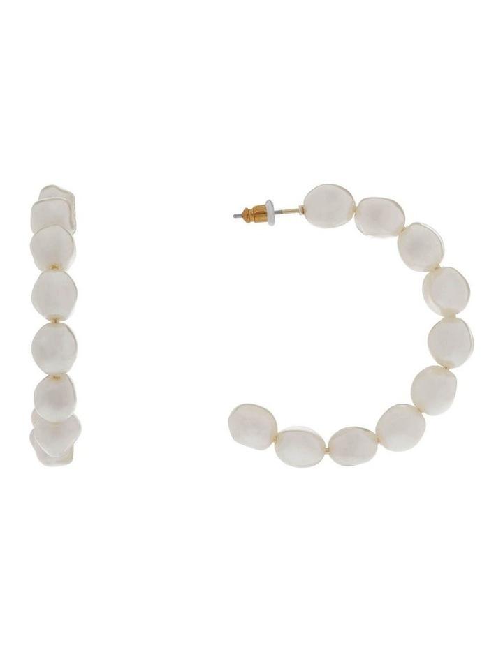 White Pearl Hoop Earrings image 1