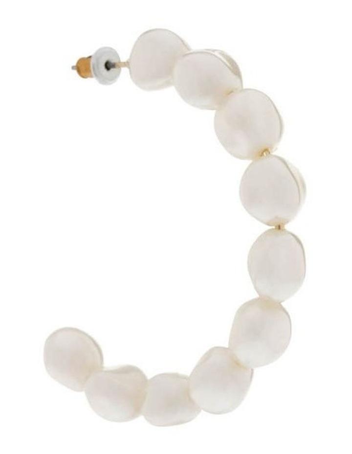 White Pearl Hoop Earrings image 2