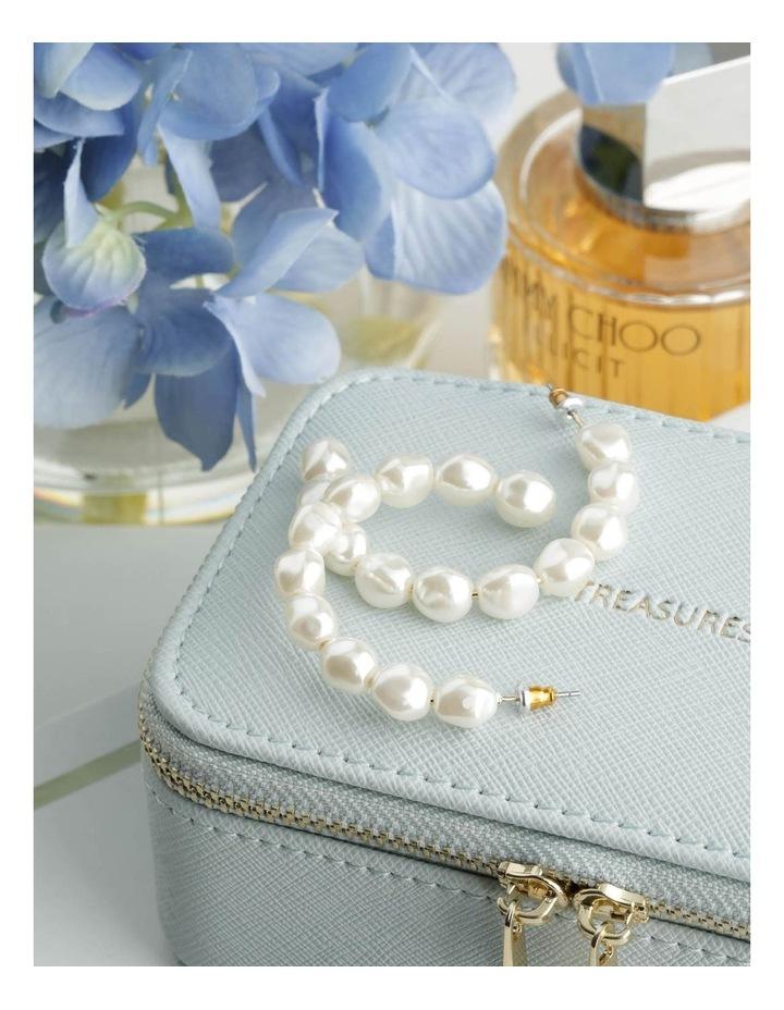 White Pearl Hoop Earrings image 3