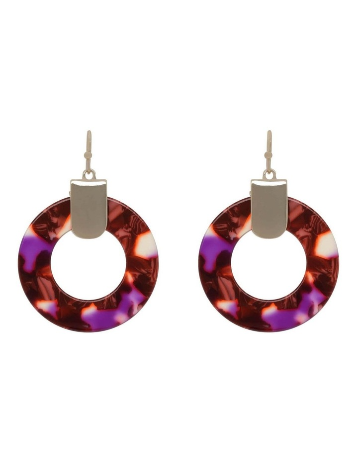 Acetate Circle Earring in Berry Pink image 1