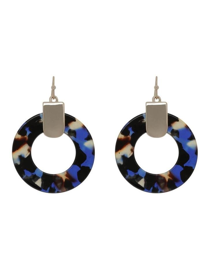 Acetate Circle Earring in Navy image 1