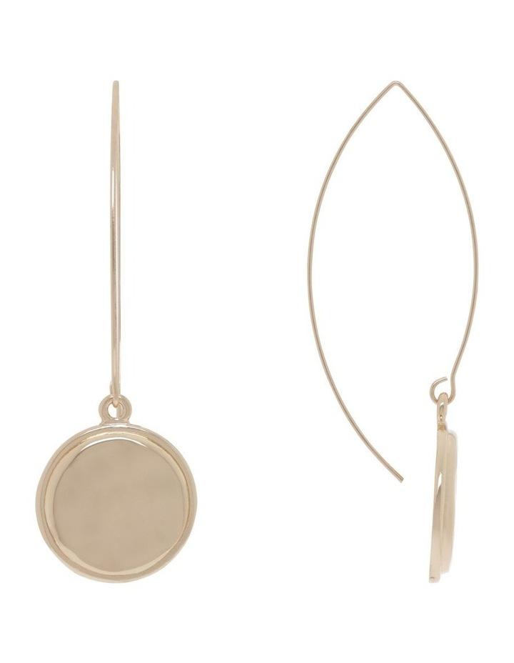Beaten Gold Pendant Drop Earrings image 1