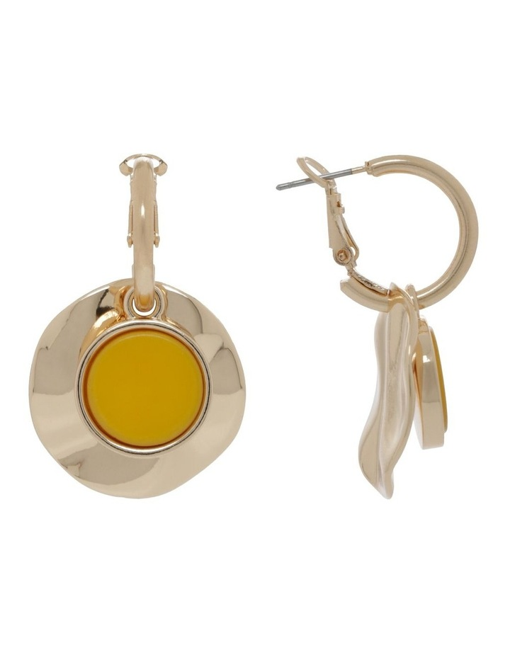Hoops With Beaten Gold Disc Earrings image 1