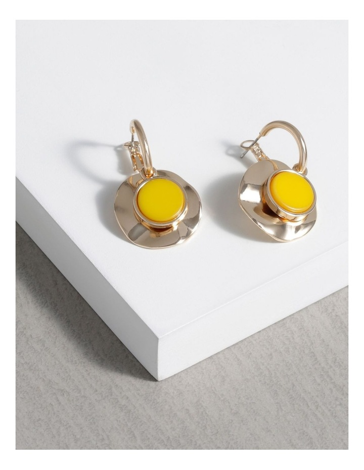 Hoops With Beaten Gold Disc Earrings image 3