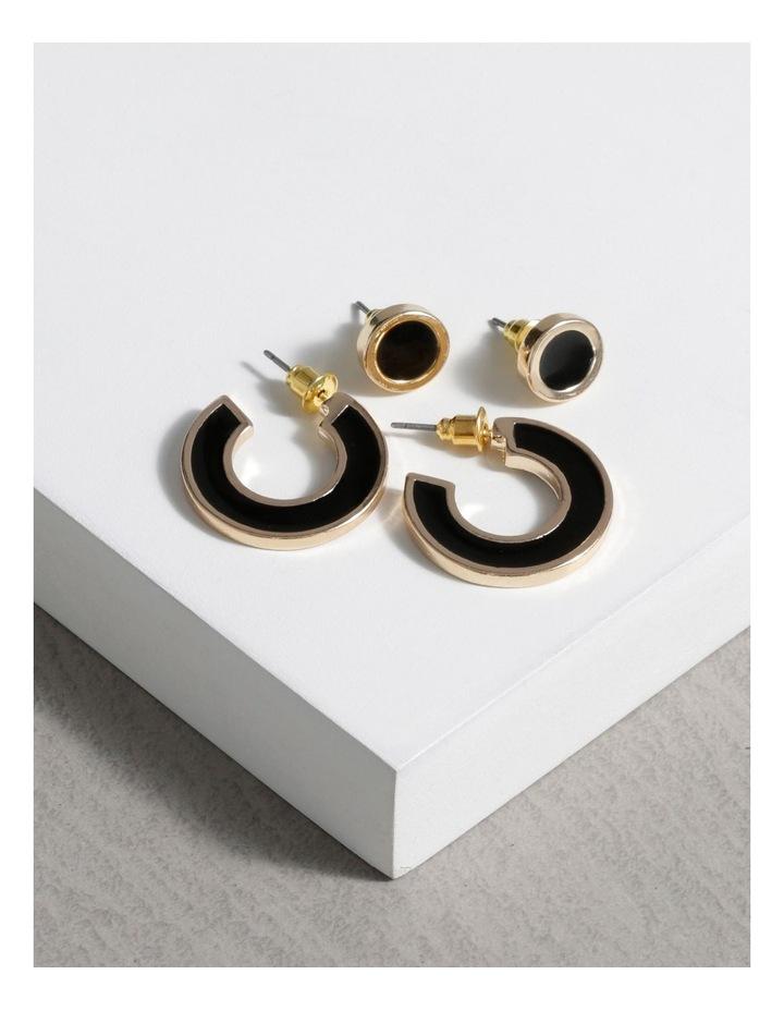 Enamel Stud & Hoop Set 2 Pack Earrings image 3