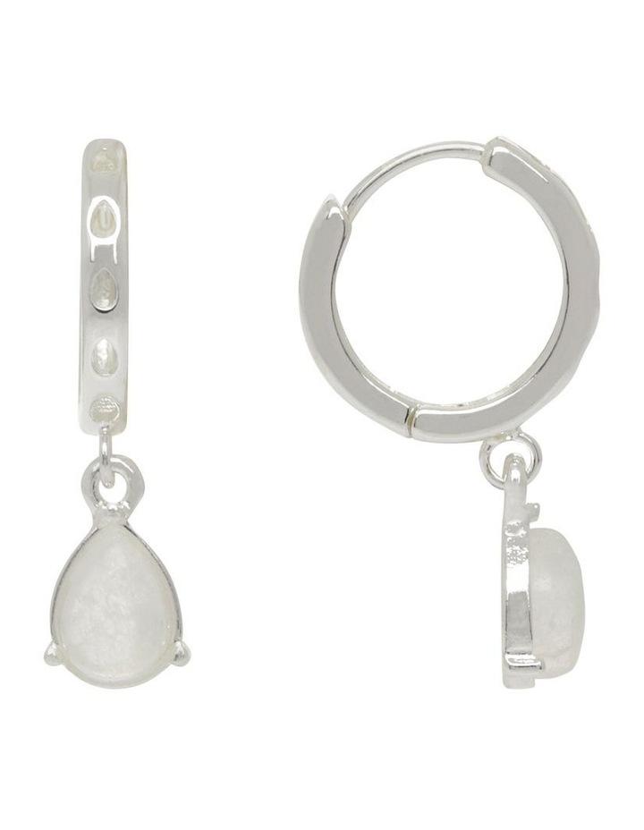 Teardrop Stone Huggie Hoop Earrings image 1