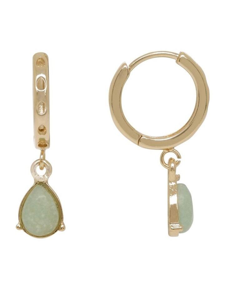 Teardrop Stone Huggie Hoop Earrings image 1