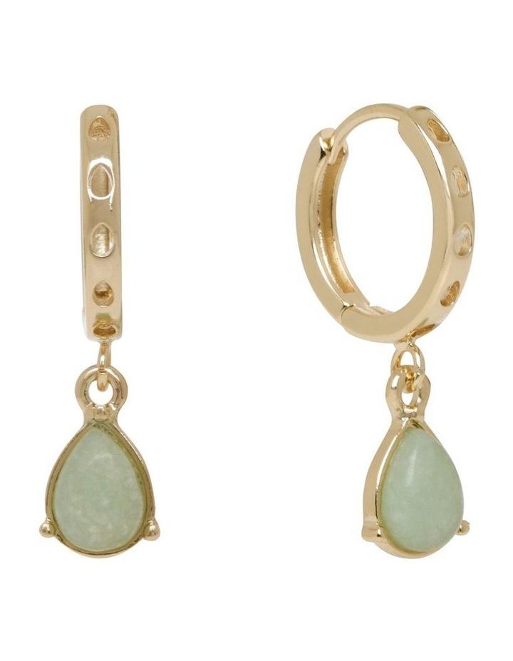 Teardrop Stone Huggie Hoop Earrings image 2