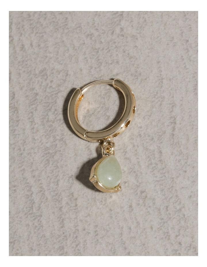 Teardrop Stone Huggie Hoop Earrings image 4