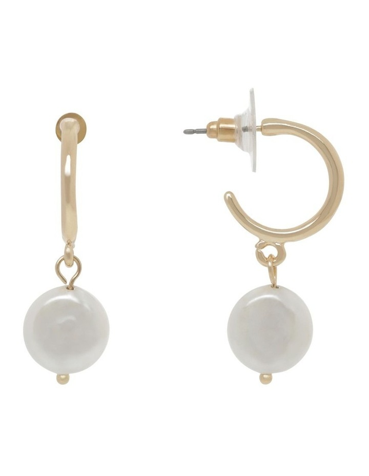 Organic Pearl Hoop Earrings image 1
