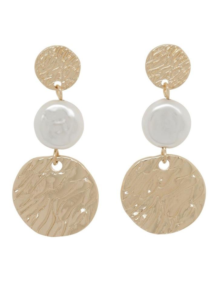 Tiered Disc & Pearl Earrings image 1