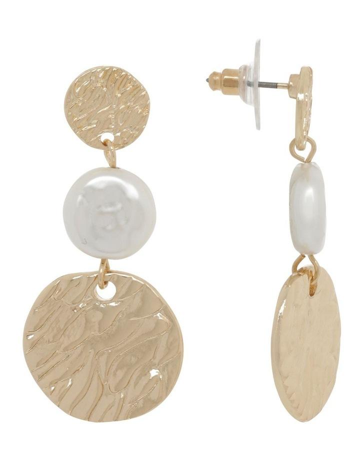 Tiered Disc & Pearl Earrings image 2