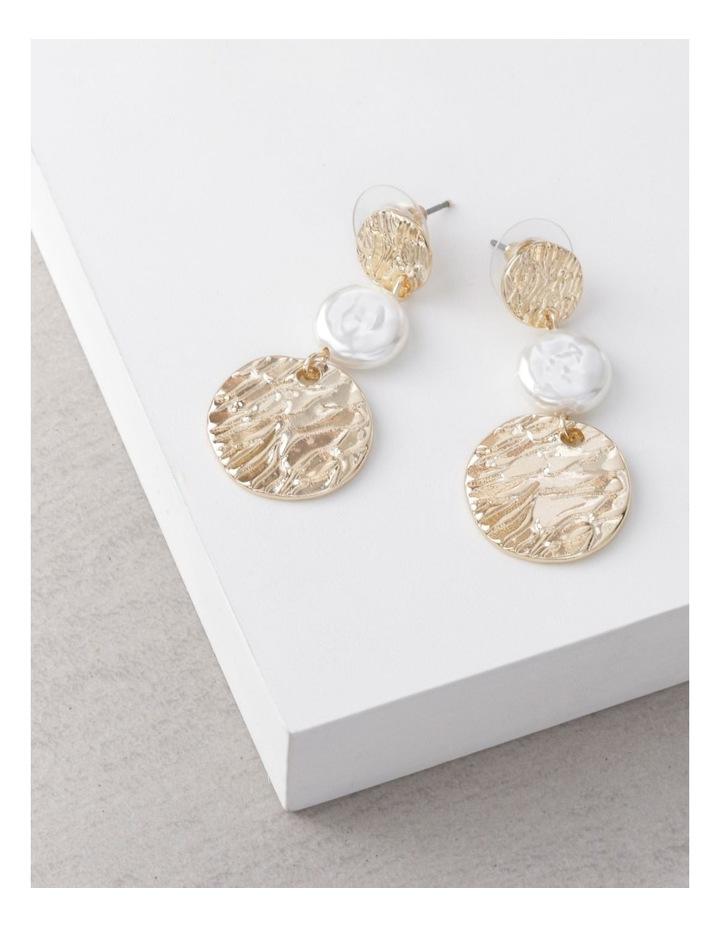 Tiered Disc & Pearl Earrings image 3